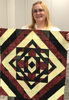 "Sarah shared a quilt top she made Kim Fauth's ""A, B, C, D"" retreat last fall."